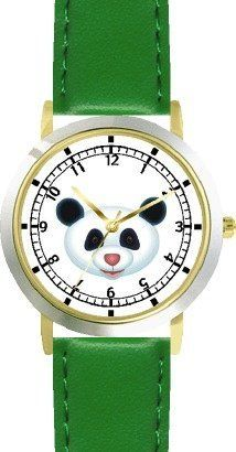Giant Panda Bear Head (Pink Nose) - Bear - JP Animal - WATCHBUDDY® DELUXE TWO-TONE THEME WATCH - Arabic Numbers - Green Leather Strap-Size-Children's Size-Small ( Boy's Size & Girl's Size ) WatchBuddy. $49.95