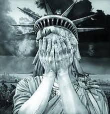 Statue of Liberty hiding her eyes!