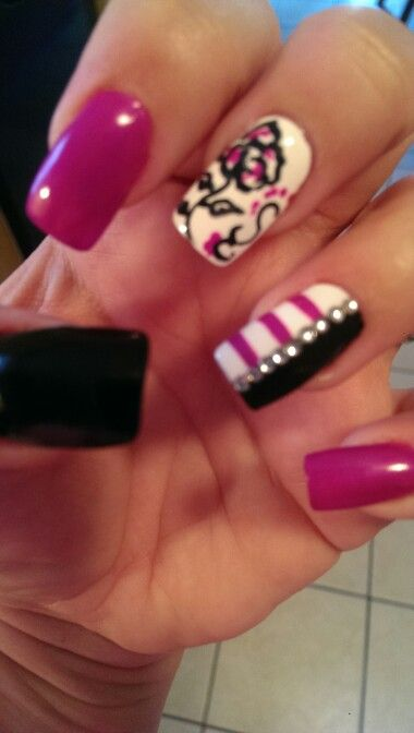 Black, pink and white