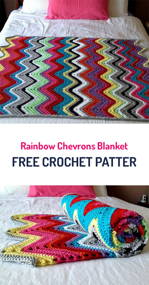 Rainbow Chevrons Blanket Free Crochet Pattern #crochet #crafts #homedecor #style #home