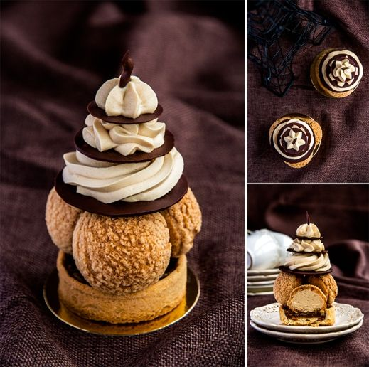 """Tartlets """"Sain-Honore"""" modern version: Crunchy sable sucre, Pate a choux, Pate sable for tartlettes, soft caramel with hazelnut; Chicory cream, Creme Monte, chocolate decorations."""