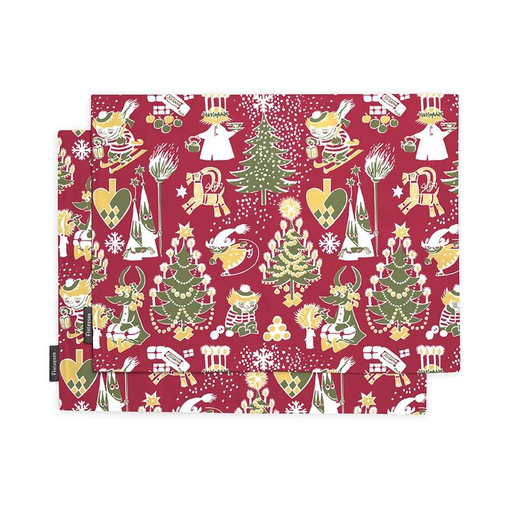 Christmas Moomin table mat set red by Finlayson - The Official Moomin Shop