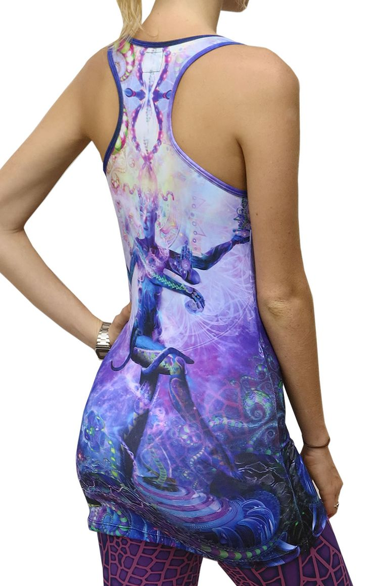 "Sublime Tank Girl : Serpentine Apotheosis The Space Tribe racerback mini-dress / long vest that will really grab people's attention. Slinky stretch polyester lycra fabric (90% polyester, 10% lycra) Printed using sublimation printing technology.  This allows for extremely vibrant colors that will never fade away no matter how many times it gets washed, & results in an extremely soft ""feel"" to the top for ultimate comfort. Artwork by Hakan Hisim"