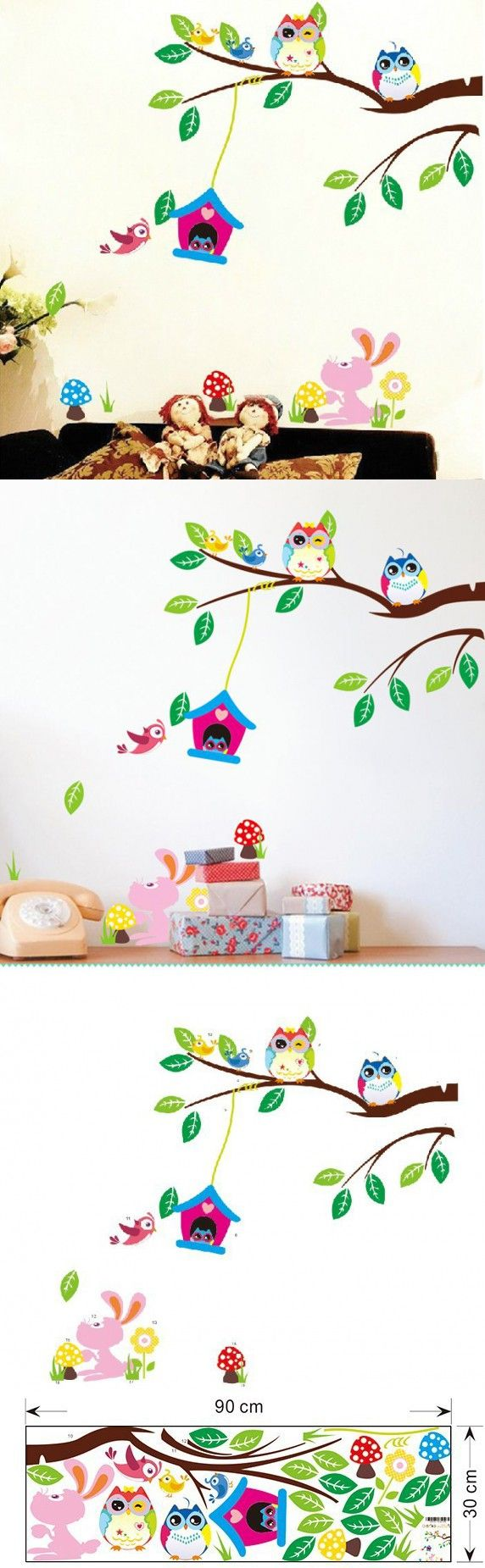 best 25 wall stickers tree ideas on pinterest bird wall decals free shipping large 1 piece diy cute owl wall stickers for kids room 1017 removable wall