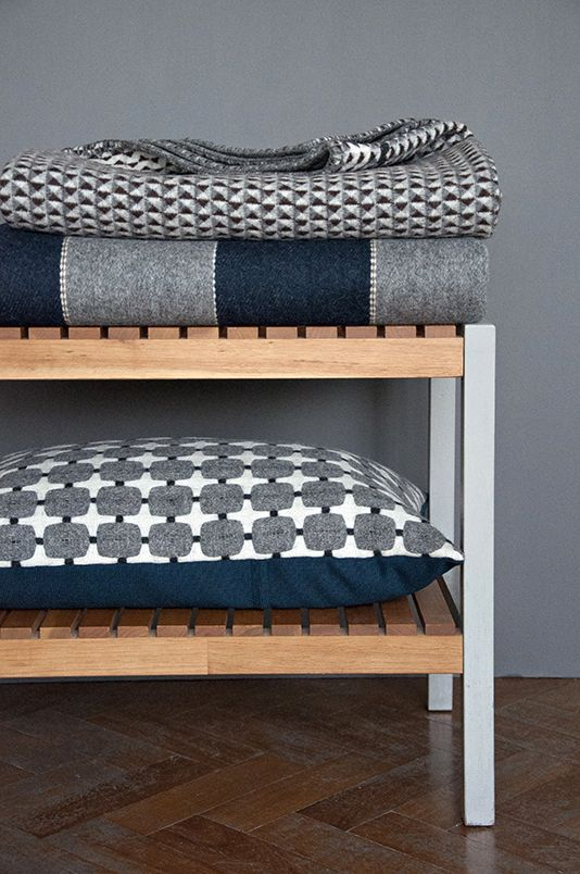 I like the striped blanket/rug -- could do solid strips and stitch them together with decorative butt-end stitching? Eleanor Pritchard
