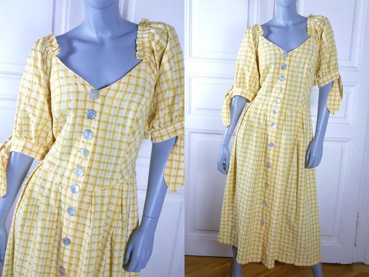 Bavarian Vintage Trachten Dress, Yellow White Seersucker Short-Sleeve Midi Dress, Octoberfest German Festival Dress: Size 12 US, 16 UK by YouLookAmazing on Etsy