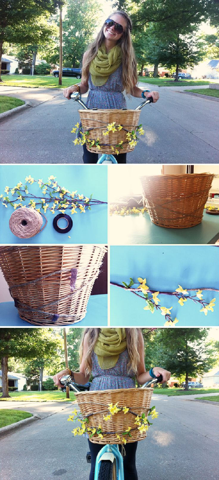 DIY Floral Bike Basket - 15 Chic DIY Ideas to Update Your Bike | GleamItUp