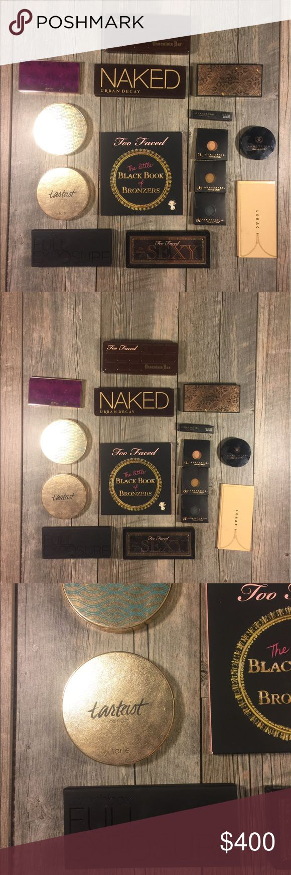 MAKE OFFERS - Huge lot of palettes and makeup Tarte energy noir clay palette, Tarte wipeout color-correcting palette, tarteist - SOLD , Anastasia Beverly Hills peach nectar illuminator, ABH Lip gloss .07oz Butterscotch, Too Faced Chocolate bar, Too Faced return of Sexy eyeshadow & eyeliner, smashbox full exposure palette, ABH Metallic, Mermaid and Peach Sorbet singles, Sephora moonshadow baked palette in the nude, naked eyeshadow, Lorac Unzipped, TooFaced the little black book of bronzers…