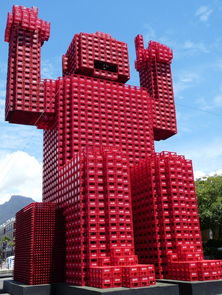 Coke Man (made from coca cola crates), V Waterfront, Cape Town, South Africa. World Soccer Cup 2010