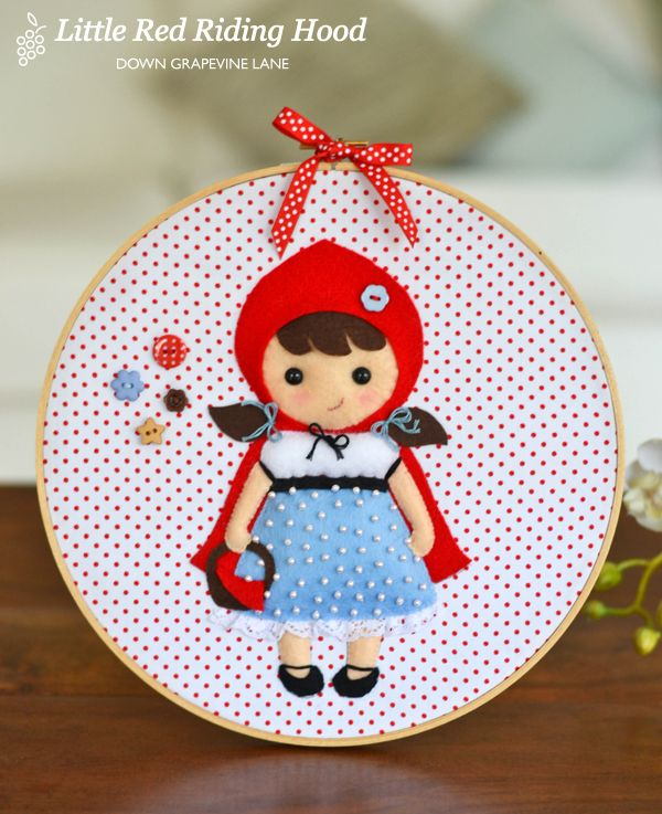 Little Red hoop art | Sewing Room in Homespun ~ by Down Grapevine Lane