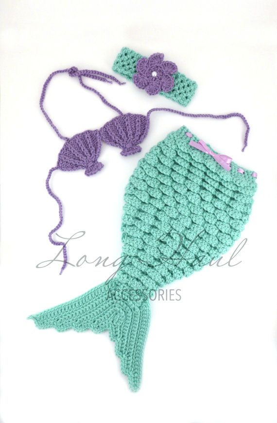 Baby Accessories Crochet Mermaid, Purple, Teal, Mermaid Photography Prop, Newborn Photography, Baby Accessories, Baby Photo Shoot Outfit, Crochet Photography
