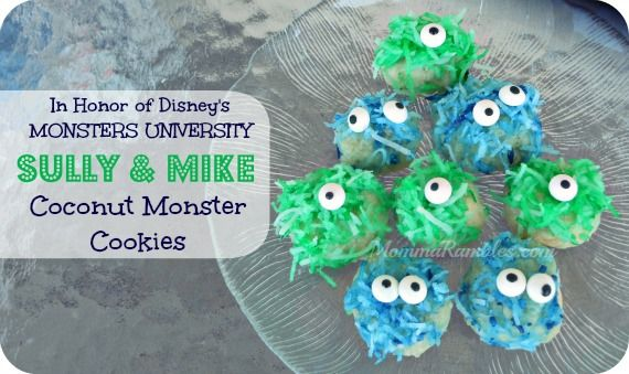 Sulley & Mike Coconut Cookies ~ Monsters University Recipe