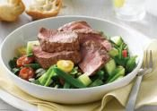 LAMB SALAD OF ROCKET, TOMATO, CUCUMBER AND TAHINI: Lamb is seasoned with salt and pepper, cooked and served on top of a tomato, cucumber and bean salad  #lamb #tomato #cucumberLambs Tomatoes, Tomatoes Cucumber, Cucumber Recipe, Beans Salad, Salad Lambs, Lambs Salad, Favorite Recipe, Bean Salads, Mr. Beans