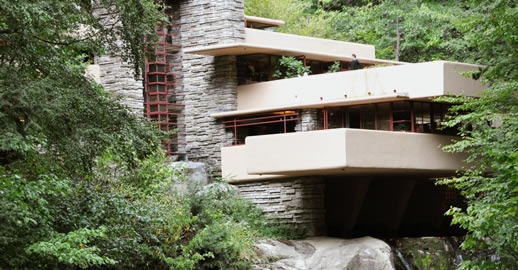 UNITY: Unity of a composition can be achieved by repetition, proximity, continuation, or closure of an object. F.L.W.'s falling water house seems to be perfectly integrated into the landscape creating a sense of unity between nature and architecture.