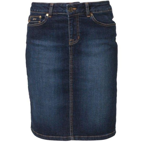 McGregor Denim skirt ($58) ❤ liked on Polyvore featuring skirts, bottoms, blue, mid length skirts, print skirt, pocket skirt, patterned skirts and mid length denim skirt