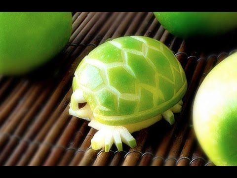 How To Make an Edible Apple Turtles - Fruit Carving Garnish - Party Garnishing - Food Decoration - YouTube