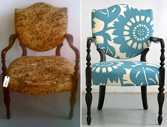 Upholstry studio that revitalizes and restyles salvaged vintage furniture; lots of ideas