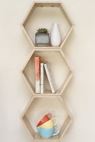 Honeycomb Shelving Pods would add Functional Style to a  Kitchen or Dining Nook
