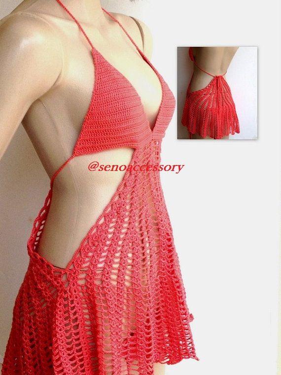 Corallo rosso Crochet Beach Dress estate vestito costume da