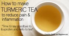 KnowledgeWeighsNothing.com: How To Make Turmeric Pain Relief Tea - Nature has provided a safer, natural alternative to taking ibuprofen tablets (Advil, Motrin, Nuprin & Nurofen) for pain ranging from headache, backache and other muscular aches. -- The side-effects  of long-term ibuprofen (and other NSAIDs) use can include nausea / diarrhea, gastrointestinal bleeding, hypertension, increased risk of heart attack, increased risk of kidney cancer, erectile dysfunction and more.