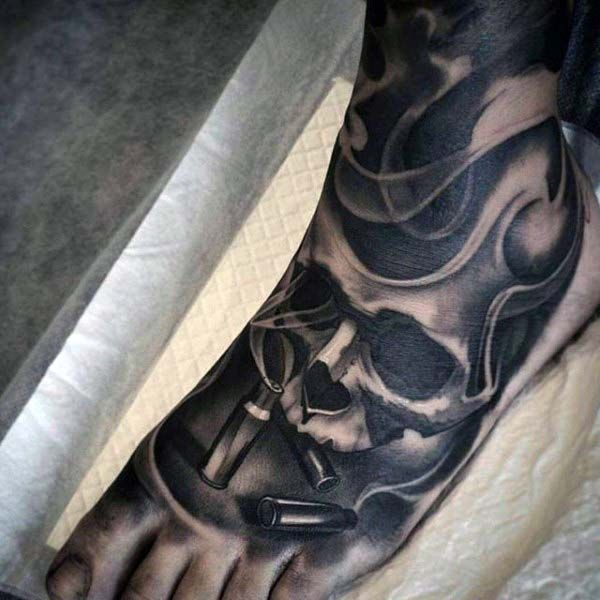 Skull and bullet smoking foot tattoos pinterest best for Mens foot tattoos