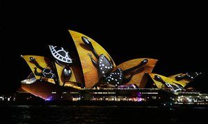 The spectacular illumination of the Sydney Opera House sails features abstract designs, vivid colours and aboriginal artwork