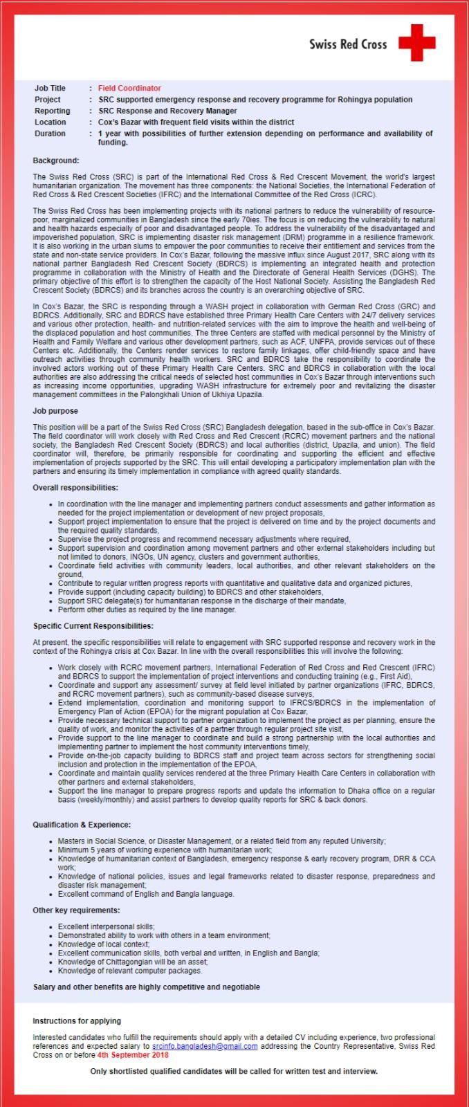 Swiss Red Cross Bangladesh job circular Apply Form 2018