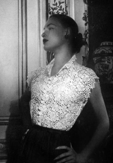 1951 Vogue Paris. Designed by Christian Dior Love this lace blouse! Women's vintage designer fashion photography photo image