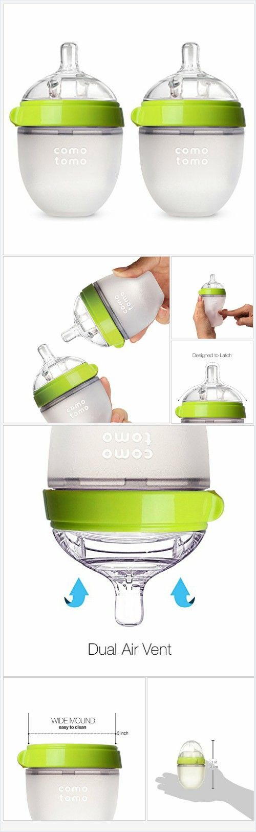 Comotomo Baby Bottle, Green, 5 Ounce, 2 Count - Every Thing Baby