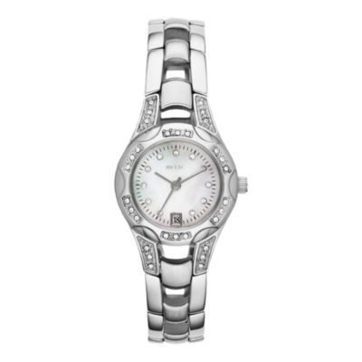 Relic® Charlotte Womens Silver-Tone Crystal-Accent Watch