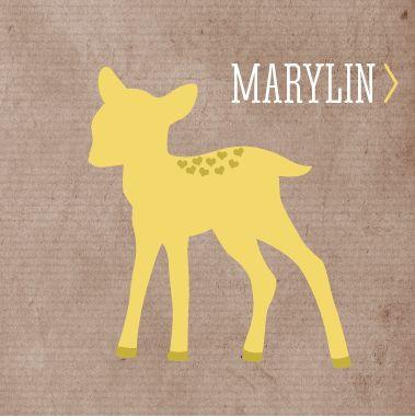 MARYLIN - Illustratief geboortekaartje van 'Het Uilennestje' voor een meisje/ dochter.  www.hetuilennestje.nl  Craft papier, hertje, oker geel, stoer, industrieel.