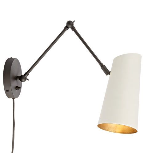 Cypress Articulating Sconce Plug-In Oil-Rubbed Bronze with White Shades A1331