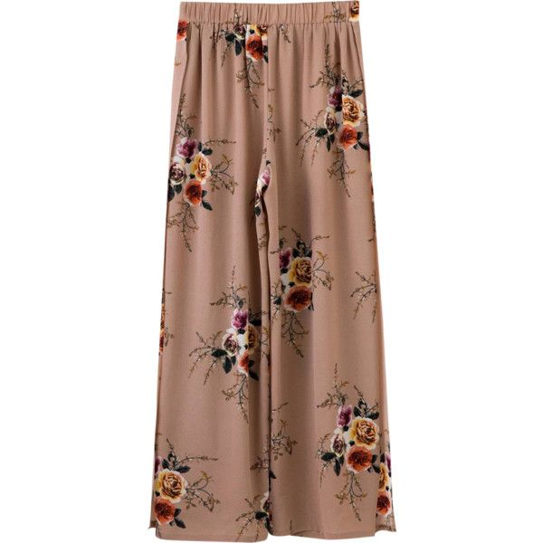 Slit Floral Wide Leg Pants Pale Pinkish Grey (€32) ❤ liked on Polyvore featuring www.zaful.com