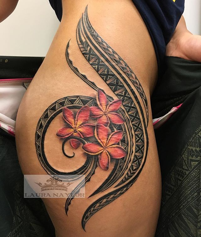 Finished this today #polynesiantattoo#islandtattoo#hawaiitattoo#hawaii#northshore#hauula#monarchtattoohawaii#plumeriatattoo#hawaiiantattoo#botanicaltattoos#tribaltattooers