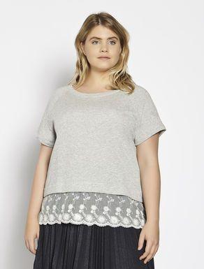 T-shirt in felpa di cotone con tulle