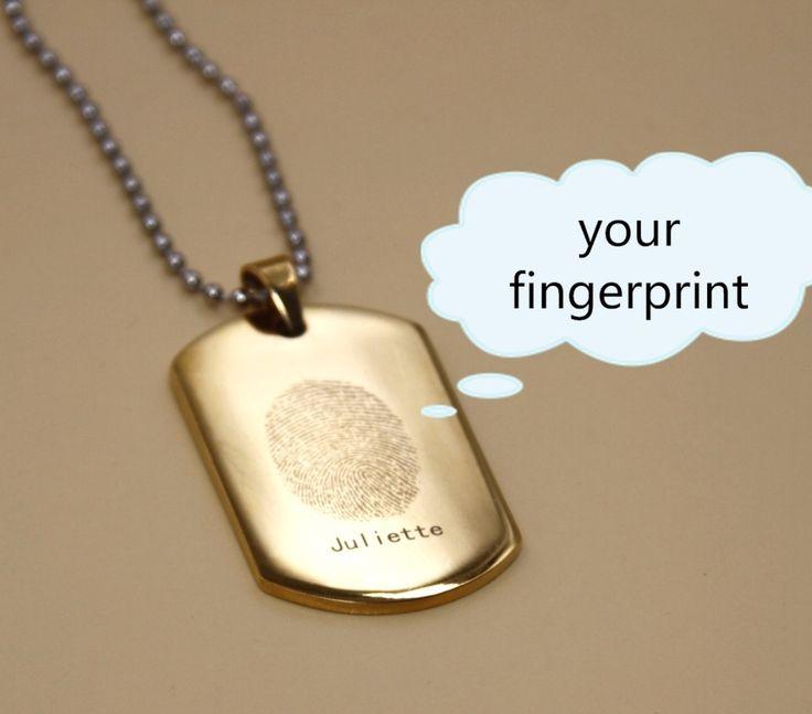 Goedkope Gepersonaliseerde aangepaste leger tag titanium zilver kleur crafted sieraden graveren uw unieke vingerafdruk op hanger ketting, koop Kwaliteit hanger halskettingen rechtstreeks van Leveranciers van China:  PERSONALISEER HET----------- EEN GRAVEERBARE DAT UNIEK IS JOUWE -----------of het uw initialen of uw