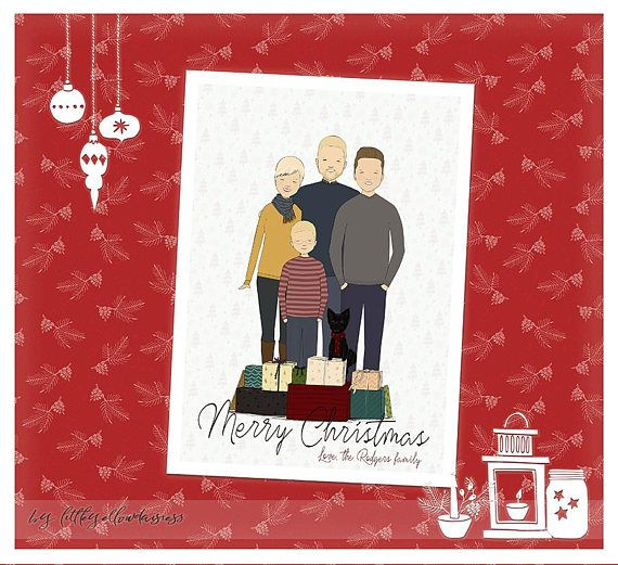 Custom Christmas Card Christmas Family Portrait Bespoke Family