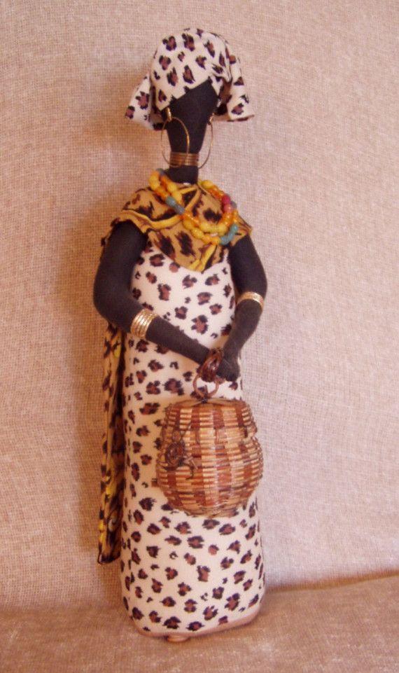 Handmade African Cloth Stump Doll  Animal by TreasuresByTricia