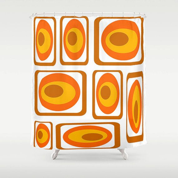 Modern  Shower Curtain Orange  Shower Curtain by crashpaddesigns