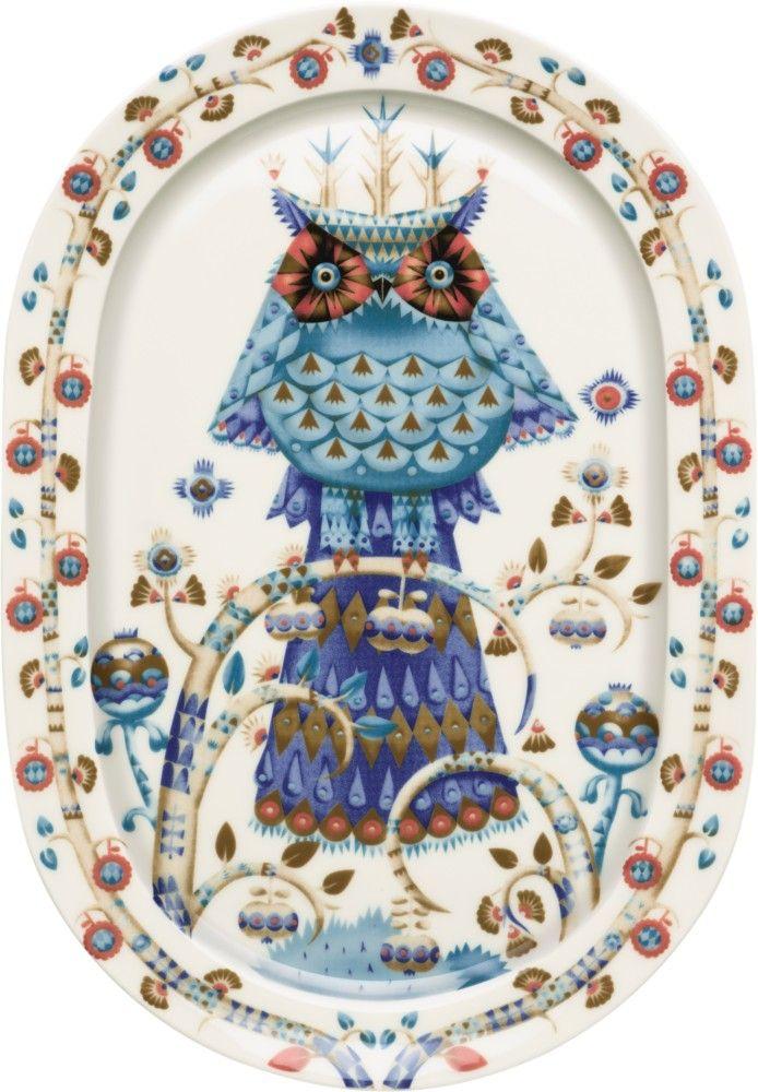 Iittala - Taika Tarjoilulautanen ovaali 41 cm valkoinen - store.iittala.fi finnish design white plate owl