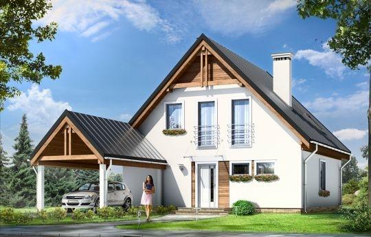 Projekt Jaś to parterowy dom jednorodzinny z poddaszem użytkowym, dla rodziny cztero-sześcioosobowej. Domek zbudowany na planie kwadratu 9,5x9,5 m, przekryty dwuspadowym dachem, z dobudowaną wiatą garażową. Istotą projektu jest prostota bryły w połączeniu z dobrze dobranymi proporcjami i ciekawym detalem.