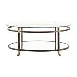 """Charlotte 42"""" Oval Glass Coffee Table in Black"""