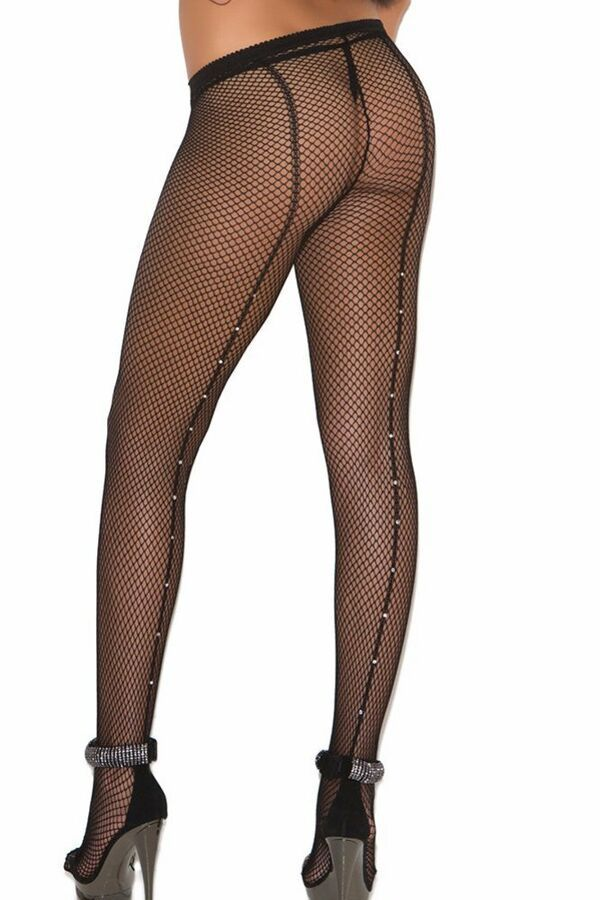 048940fea8d Plus Size Black Pantyhose Footed Back Seam Fishnet Stocking Rhinestone  Hosiery 846073074582 eBay Footed Seam Pantyhose