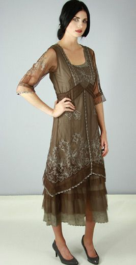 AL-2101 Titanic Tea Length Dress in Ash/Chocolate