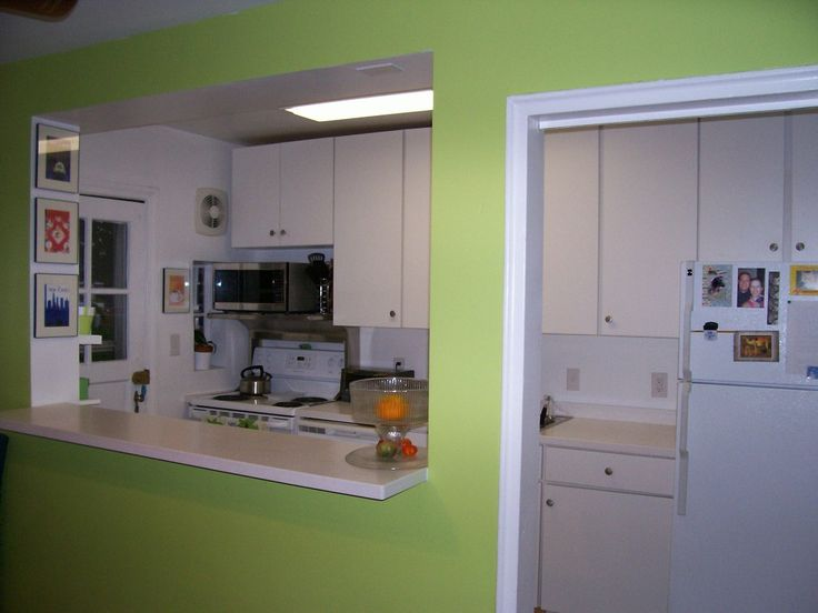 Green Wall Design Small Kitchen Space With Elegant Kitchen Bars