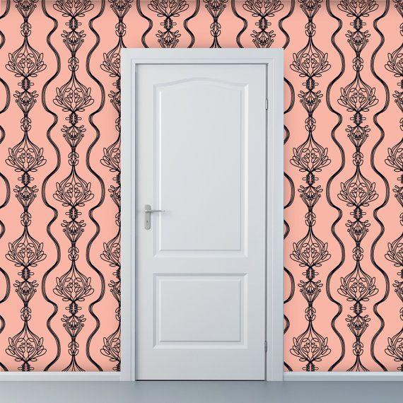 Removable Wallpaper  Lovely Lifeline in Peach  2 by WallpaperDolls, $90.00