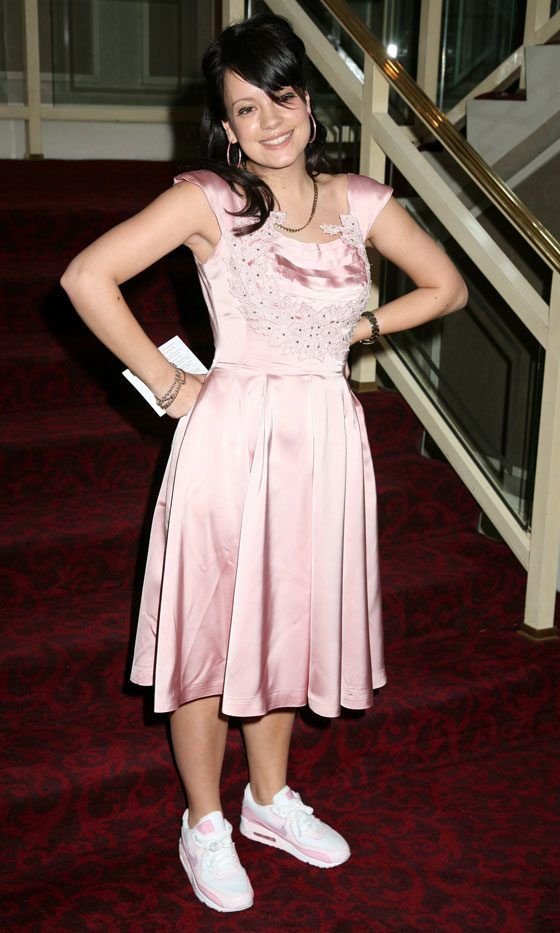 Lily Allen Wearing A Pink Satin Dress With Trainers, May 2006