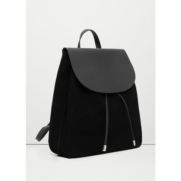 MANGO Lapel Leather Backpack ($80) ❤ liked on Polyvore featuring bags, backpacks, black, leather rucksack, leather bags, mango bags, rucksack bags and strap bag