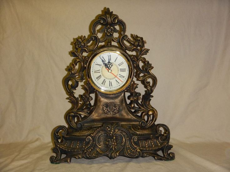 NIB Unbreakable Polyresin Black Gold Rustic Free Standing Fireplace Mantel Clock #Unbranded