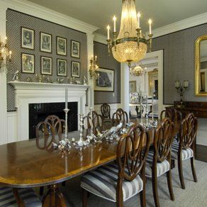 Lovely Dining Room With Shield Back Chairs A Mahogany Table Satinwood Inlay Isn